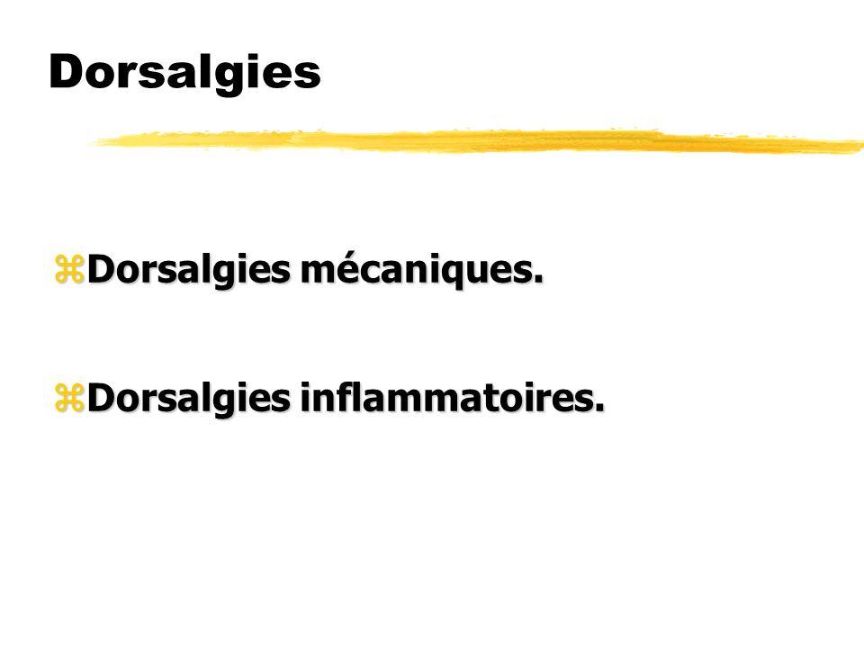 Dorsalgies zDorsalgies mécaniques. zDorsalgies inflammatoires.