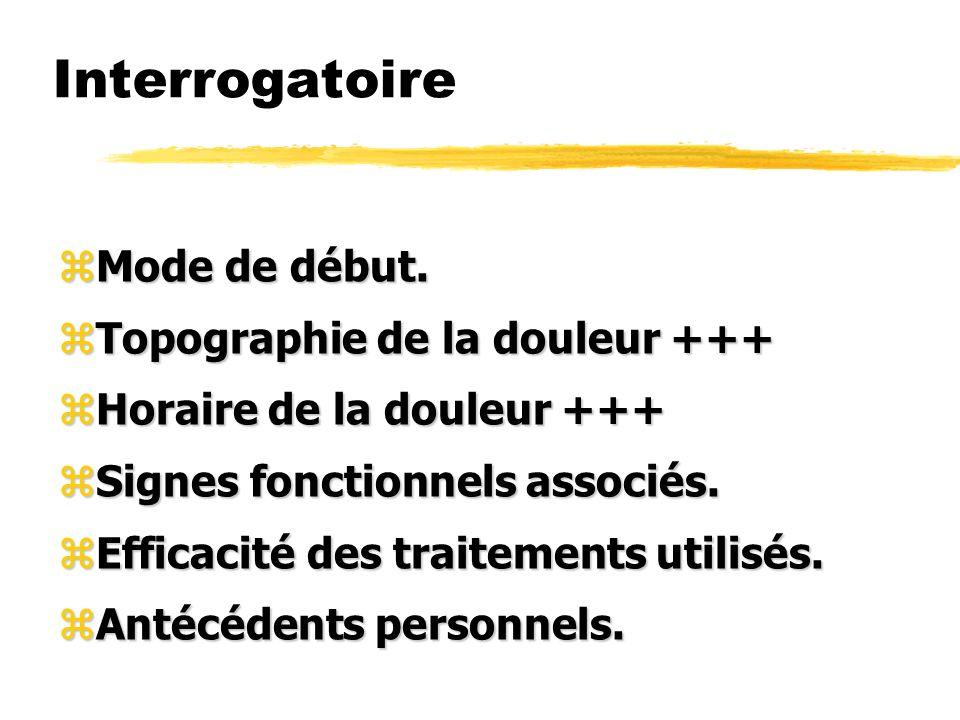 Interrogatoire zMode de début. zTopographie de la douleur +++ zHoraire de la douleur +++ zSignes fonctionnels associés. zEfficacité des traitements ut