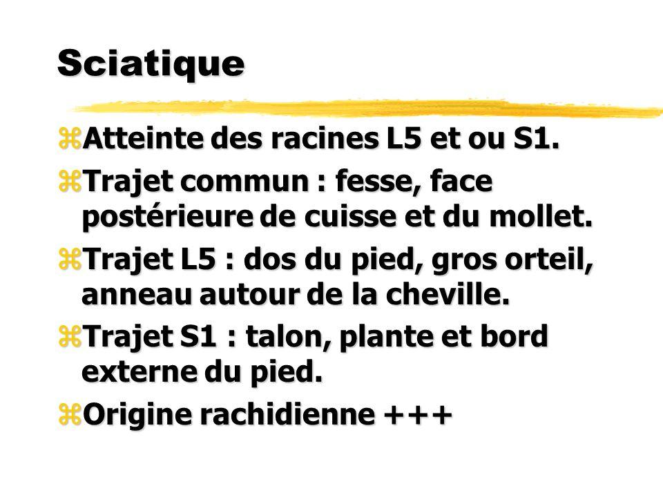 Sciatique zAtteinte des racines L5 et ou S1. zTrajet commun : fesse, face postérieure de cuisse et du mollet. zTrajet L5 : dos du pied, gros orteil, a