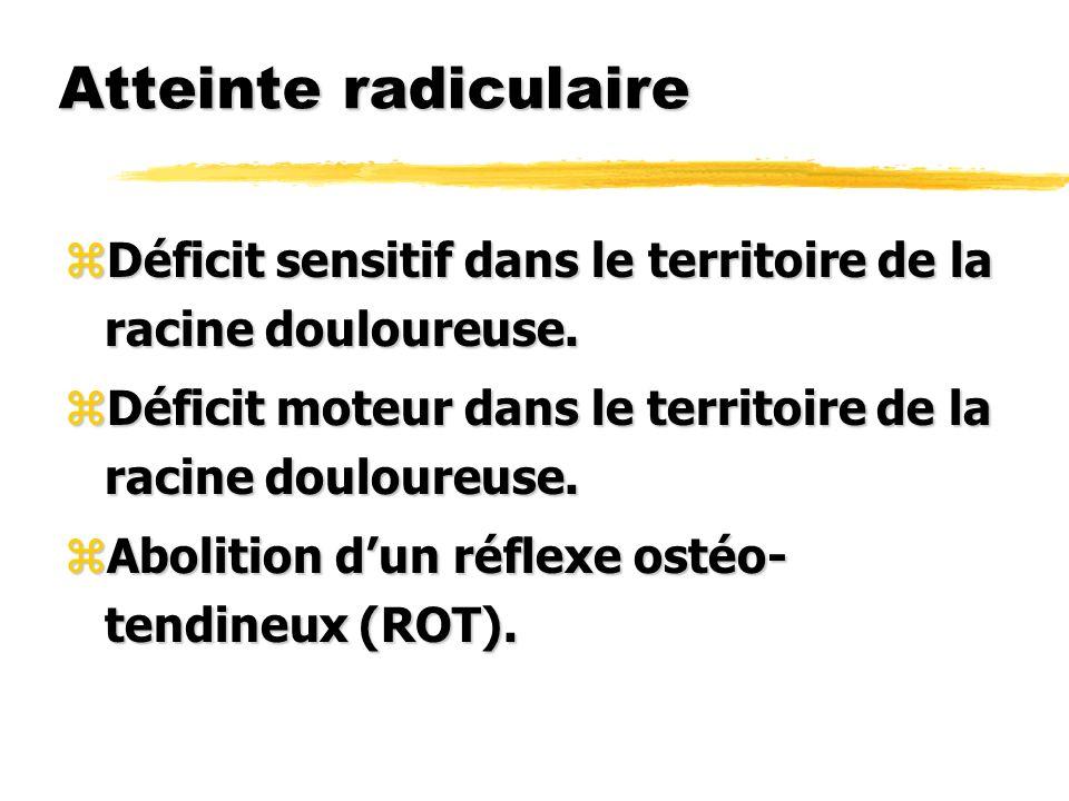Atteinte radiculaire zDéficit sensitif dans le territoire de la racine douloureuse. zDéficit moteur dans le territoire de la racine douloureuse. zAbol