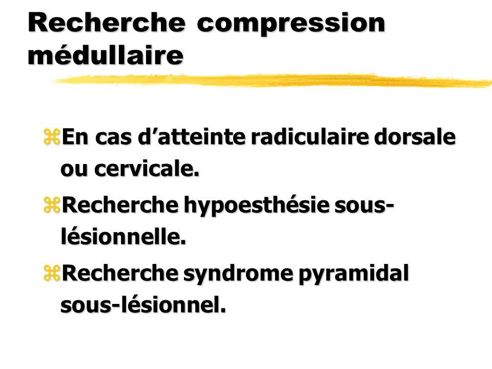 Recherche compression médullaire zEn cas datteinte radiculaire dorsale ou cervicale. zRecherche hypoesthésie sous- lésionnelle. zRecherche syndrome py