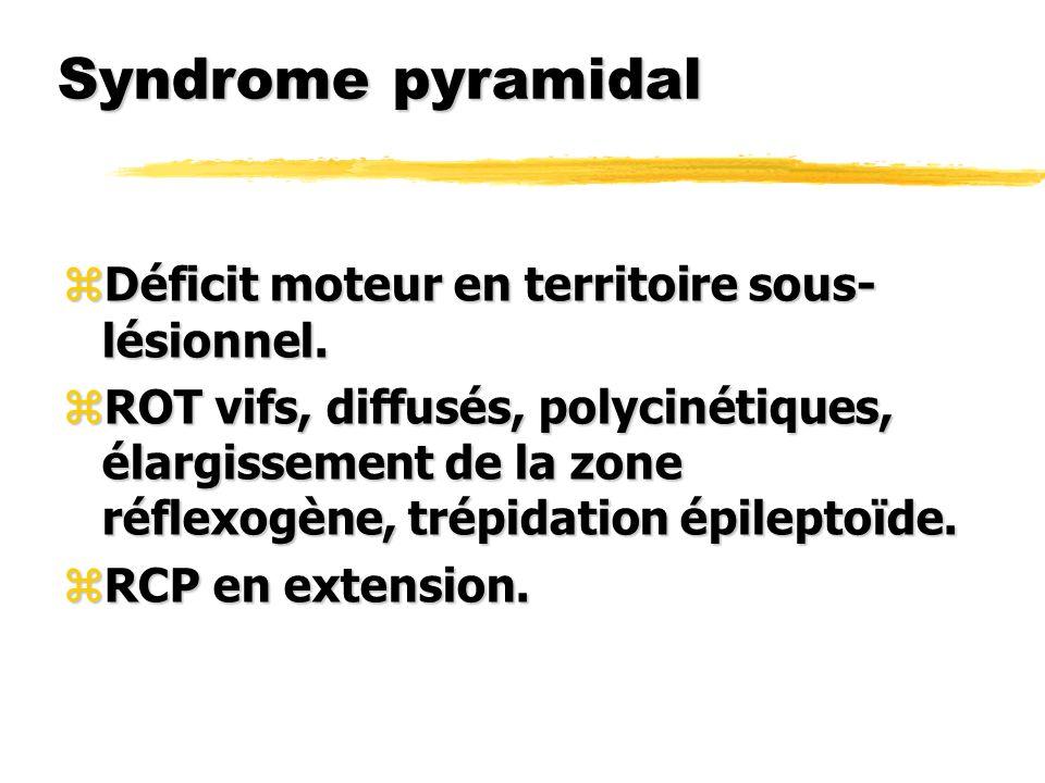 Syndrome pyramidal zDéficit moteur en territoire sous- lésionnel. zROT vifs, diffusés, polycinétiques, élargissement de la zone réflexogène, trépidati