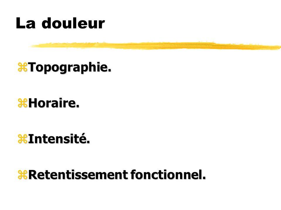 Inspection zCassure zAttitude antalgique zRaideur (notamment rachis cervical).