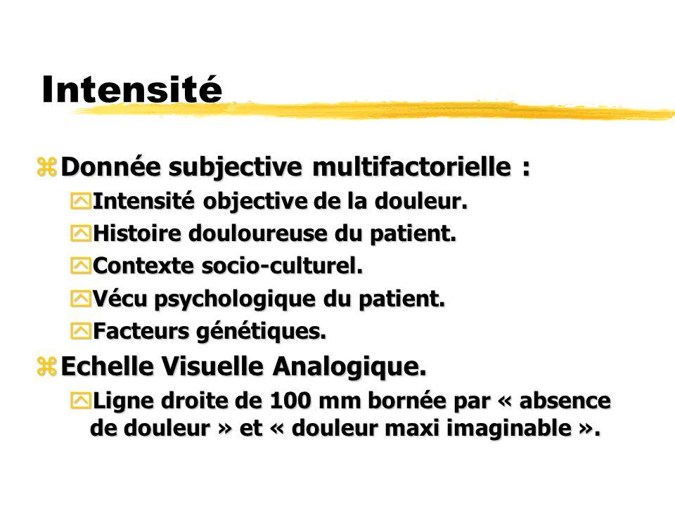 Intensité zDonnée subjective multifactorielle : yIntensité objective de la douleur. yHistoire douloureuse du patient. yContexte socio-culturel. yVécu