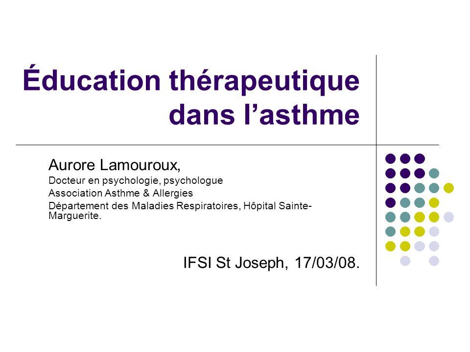 Éducation thérapeutique dans lasthme Aurore Lamouroux, Docteur en psychologie, psychologue Association Asthme & Allergies Département des Maladies Res