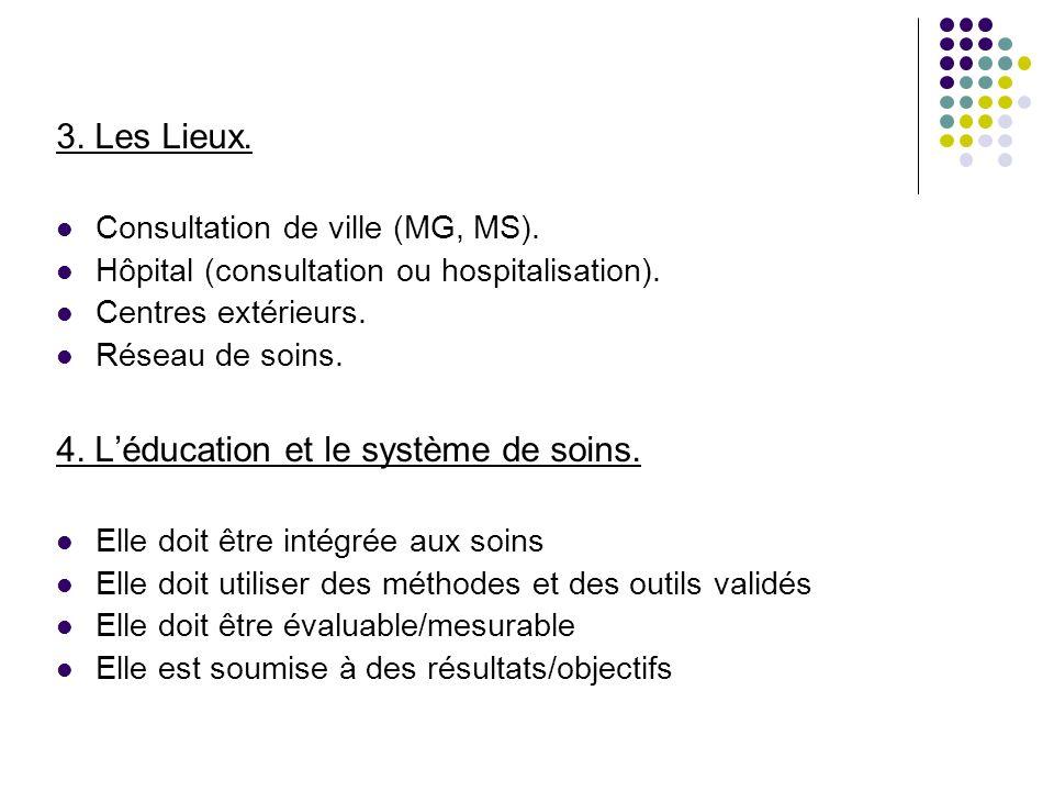 3. Les Lieux. Consultation de ville (MG, MS). Hôpital (consultation ou hospitalisation). Centres extérieurs. Réseau de soins. 4. Léducation et le syst