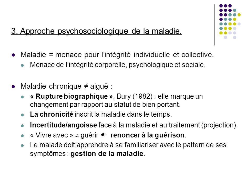 3. Approche psychosociologique de la maladie. Maladie = menace pour lintégrité individuelle et collective. Menace de lintégrité corporelle, psychologi