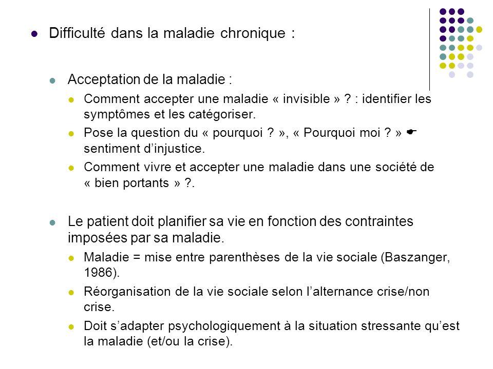 Difficulté dans la maladie chronique : Acceptation de la maladie : Comment accepter une maladie « invisible » ? : identifier les symptômes et les caté