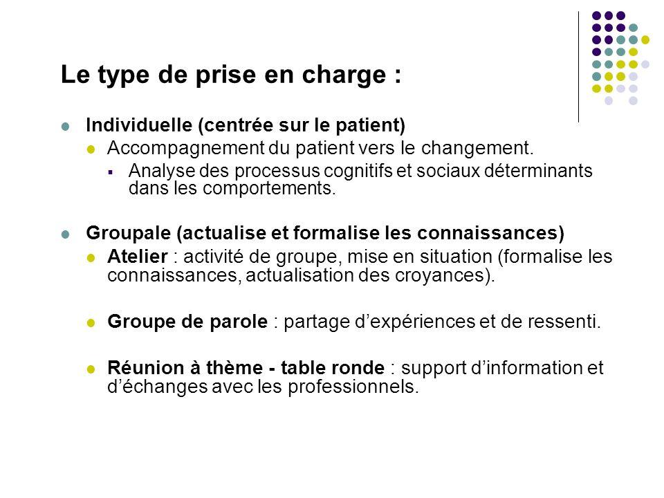 Le type de prise en charge : Individuelle (centrée sur le patient) Accompagnement du patient vers le changement. Analyse des processus cognitifs et so
