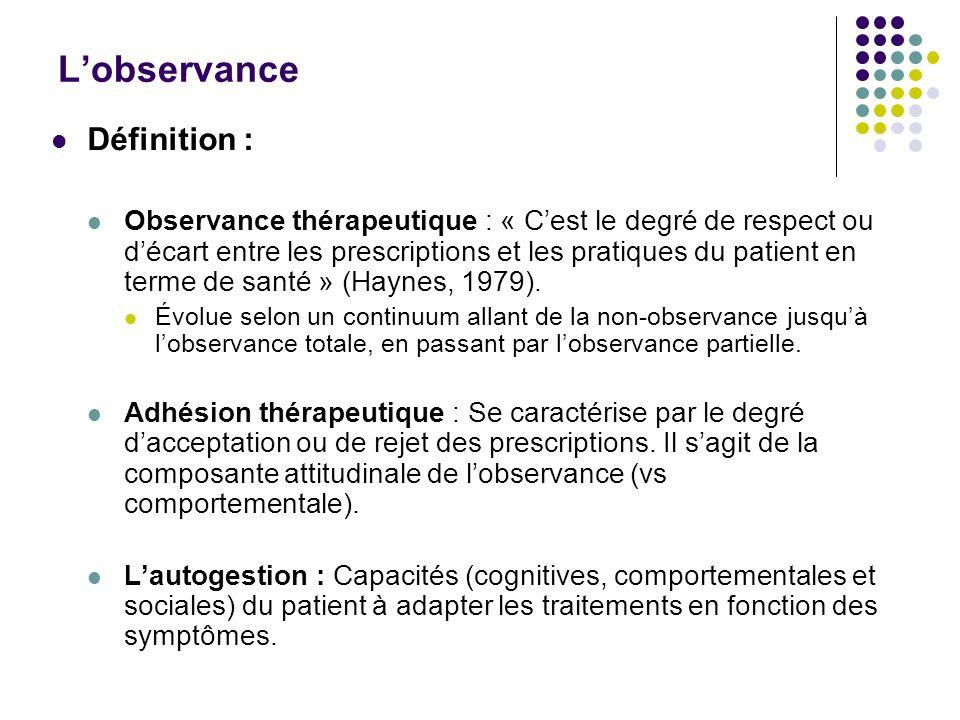 Lobservance Définition : Observance thérapeutique : « Cest le degré de respect ou décart entre les prescriptions et les pratiques du patient en terme