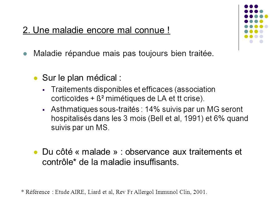 2. Une maladie encore mal connue ! Maladie répandue mais pas toujours bien traitée. Sur le plan médical : Traitements disponibles et efficaces (associ
