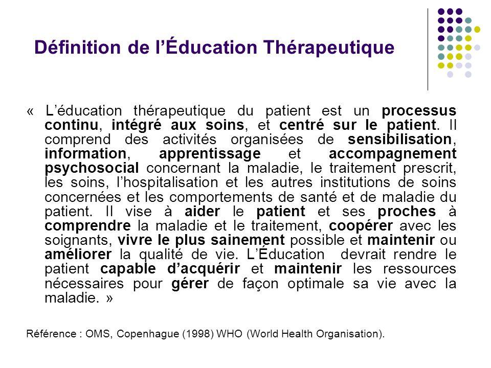 « Léducation thérapeutique du patient est un processus continu, intégré aux soins, et centré sur le patient. Il comprend des activités organisées de s