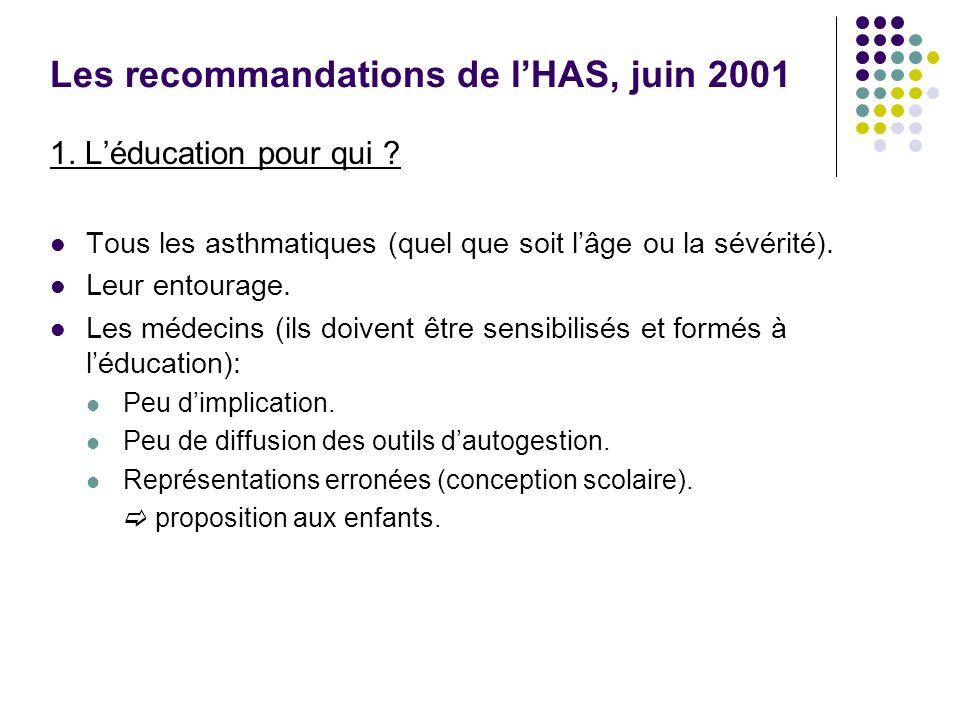 Les recommandations de lHAS, juin 2001 1. Léducation pour qui ? Tous les asthmatiques (quel que soit lâge ou la sévérité). Leur entourage. Les médecin