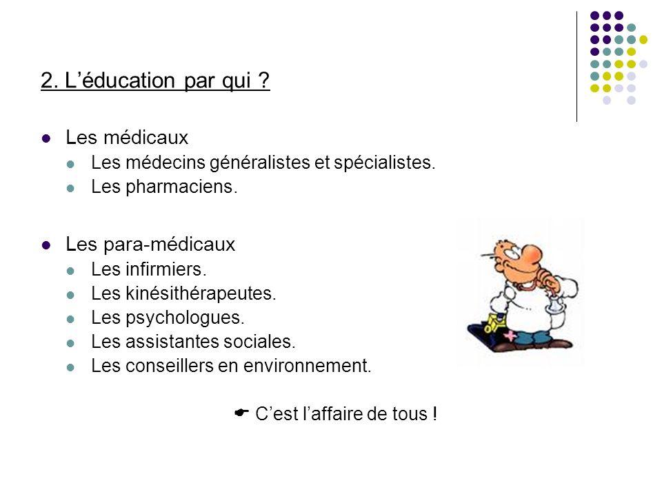 2. Léducation par qui ? Les médicaux Les médecins généralistes et spécialistes. Les pharmaciens. Les para-médicaux Les infirmiers. Les kinésithérapeut