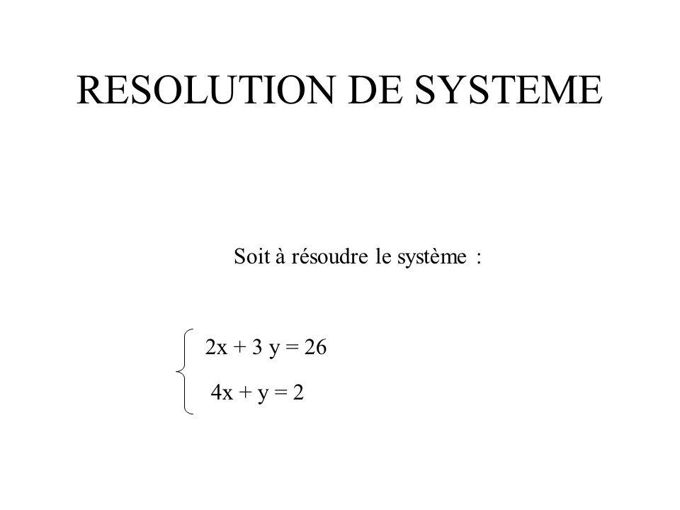 RESOLUTION DE SYSTEME Soit à résoudre le système : 2x + 3 y = 26 4x + y = 2