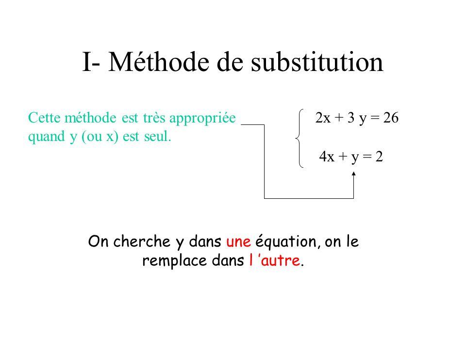 I- Méthode de substitution Cette méthode est très appropriée quand y (ou x) est seul. 2x + 3 y = 26 4x + y = 2 On cherche y dans une équation, on le r