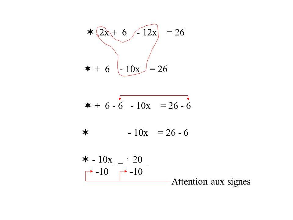 2x + 6 - 12x = 26 + 6 - 10x = 26 + 6 - 6 - 10x = 26 - 6 - 10x = 20 -10 = Attention aux signes