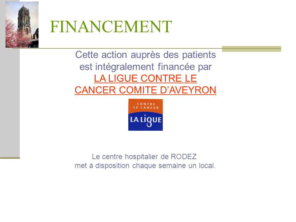 FINANCEMENT Cette action auprès des patients est intégralement financée par LA LIGUE CONTRE LE CANCER COMITE DAVEYRON Le centre hospitalier de RODEZ m