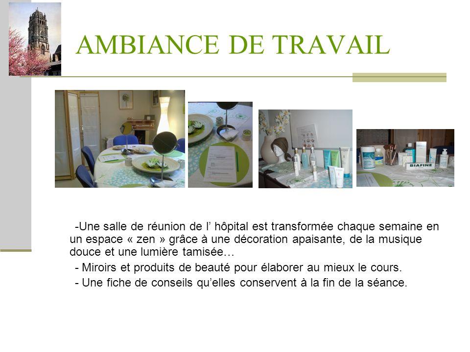 AMBIANCE DE TRAVAIL -Une salle de réunion de l hôpital est transformée chaque semaine en un espace « zen » grâce à une décoration apaisante, de la mus