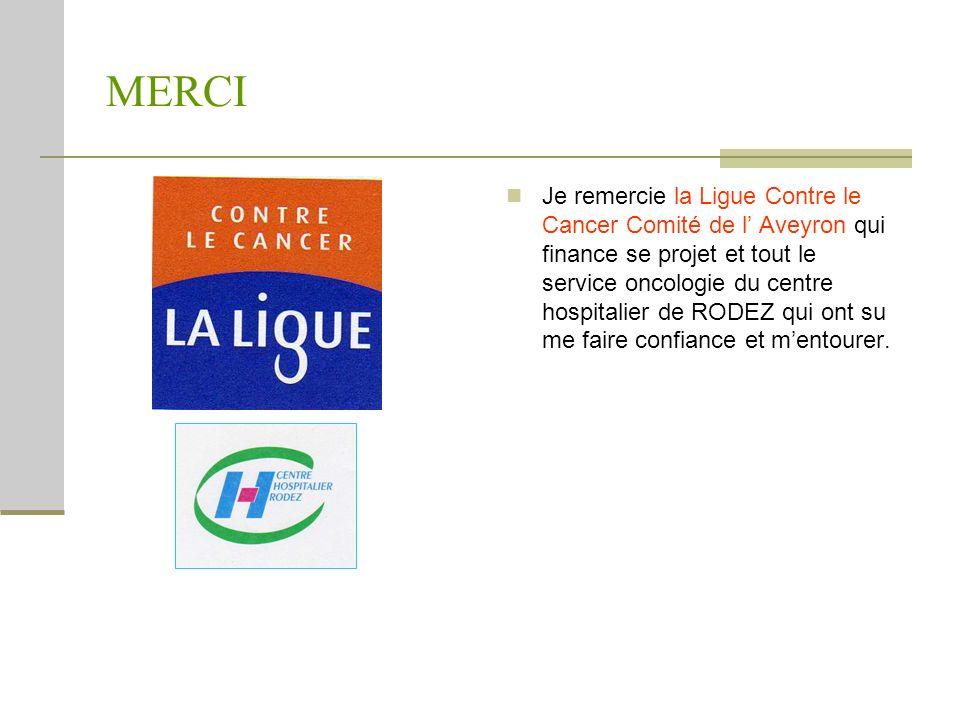 MERCI Je remercie la Ligue Contre le Cancer Comité de l Aveyron qui finance se projet et tout le service oncologie du centre hospitalier de RODEZ qui