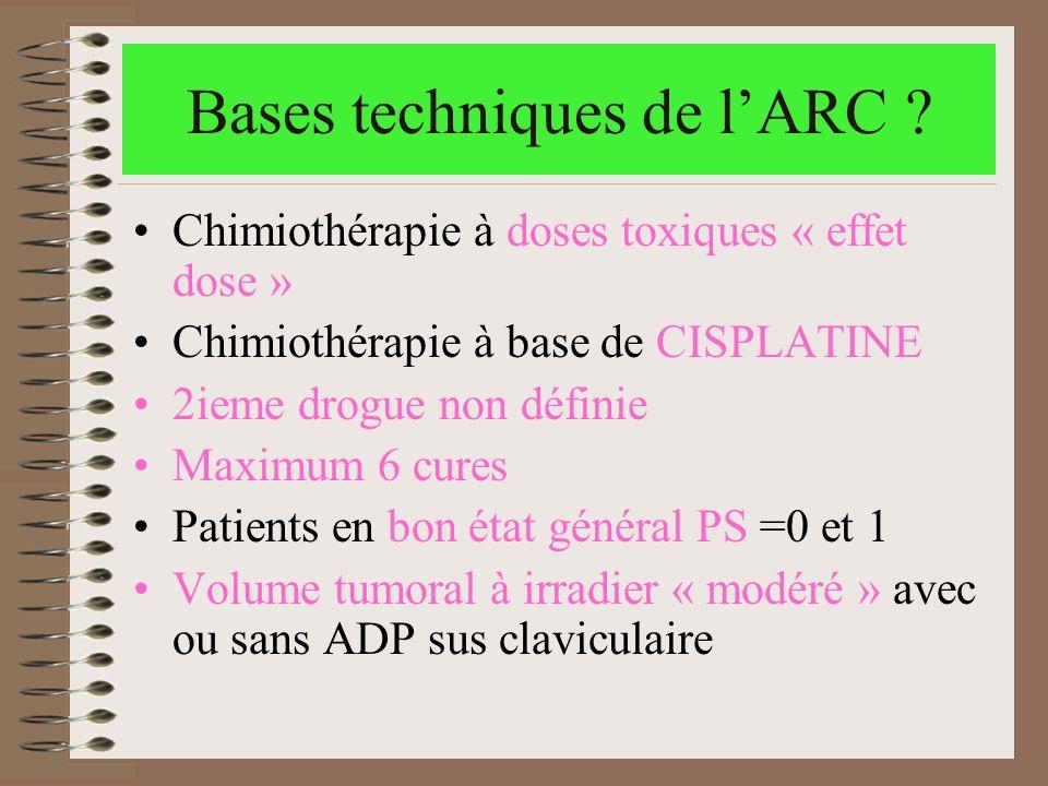 Bases techniques de lARC ? Chimiothérapie à doses toxiques « effet dose » Chimiothérapie à base de CISPLATINE 2ieme drogue non définie Maximum 6 cures