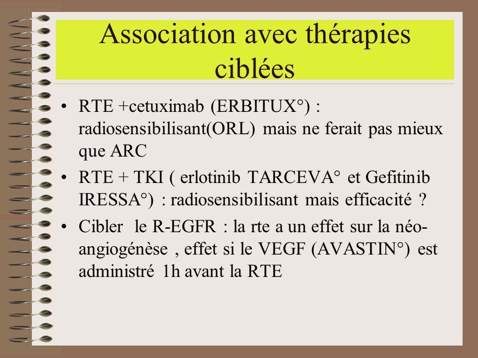 Association avec thérapies ciblées RTE +cetuximab (ERBITUX°) : radiosensibilisant(ORL) mais ne ferait pas mieux que ARC RTE + TKI ( erlotinib TARCEVA°