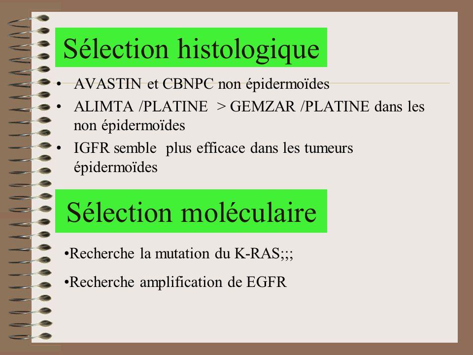 Sélection histologique AVASTIN et CBNPC non épidermoïdes ALIMTA /PLATINE > GEMZAR /PLATINE dans les non épidermoïdes IGFR semble plus efficace dans le