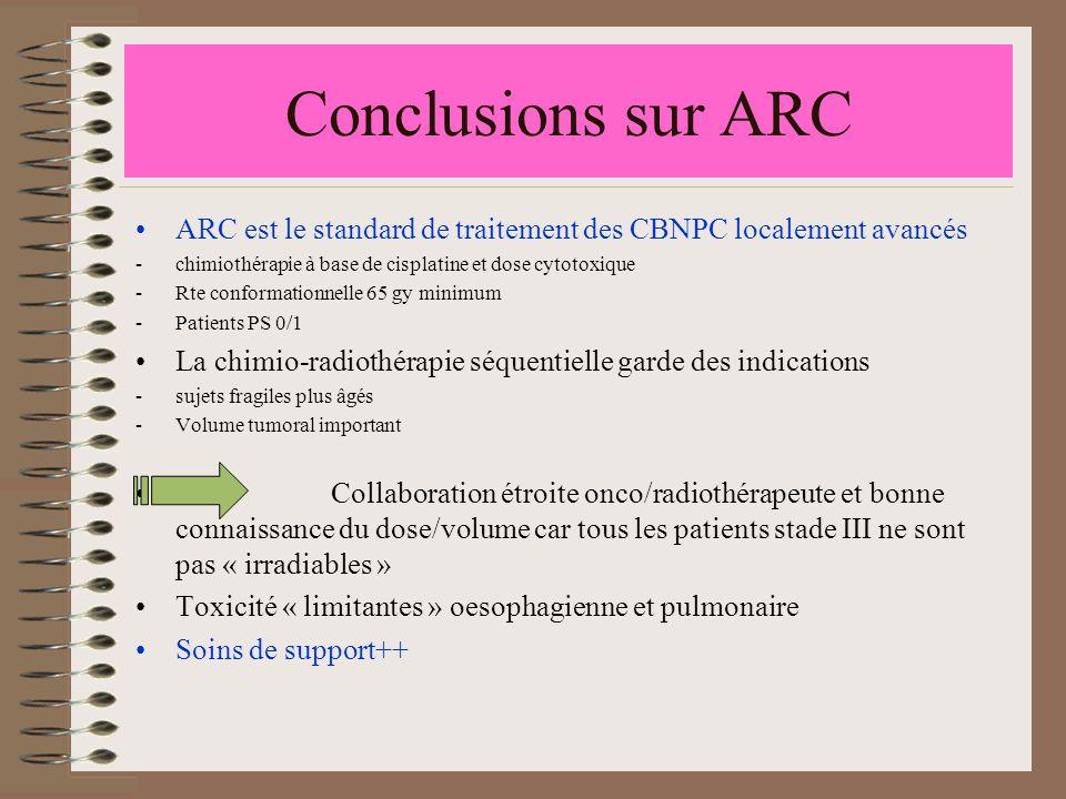 Conclusions sur ARC ARC est le standard de traitement des CBNPC localement avancés -chimiothérapie à base de cisplatine et dose cytotoxique -Rte confo