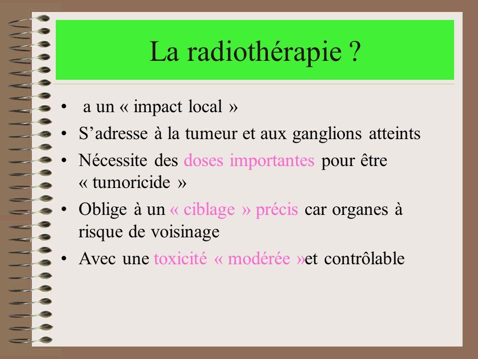 La radiothérapie ? a un « impact local » Sadresse à la tumeur et aux ganglions atteints Nécessite des doses importantes pour être « tumoricide » Oblig