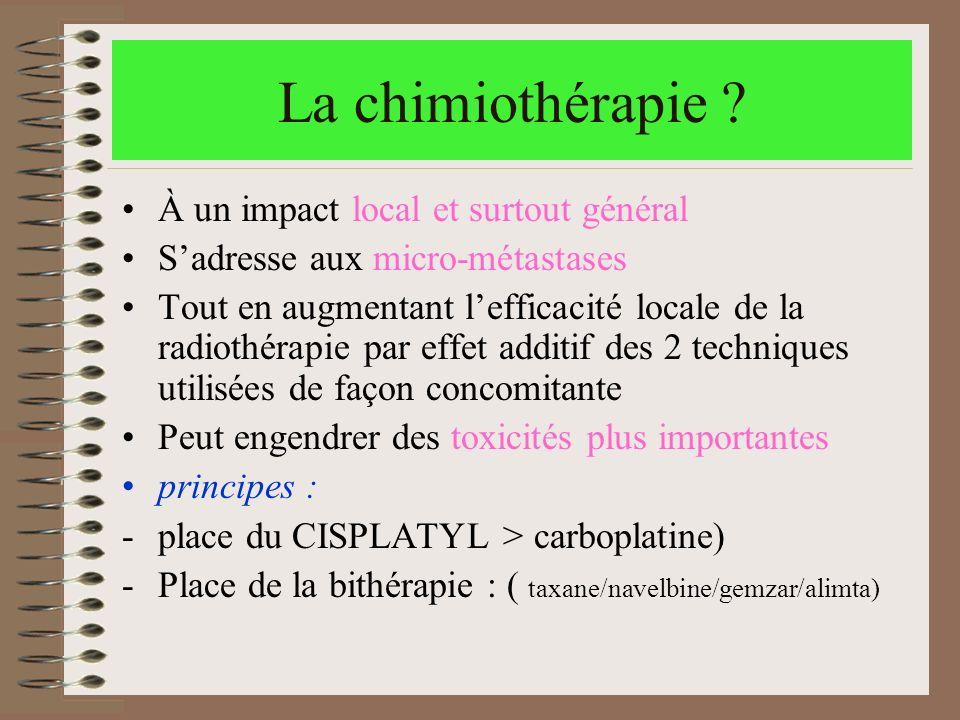 La chimiothérapie ? À un impact local et surtout général Sadresse aux micro-métastases Tout en augmentant lefficacité locale de la radiothérapie par e