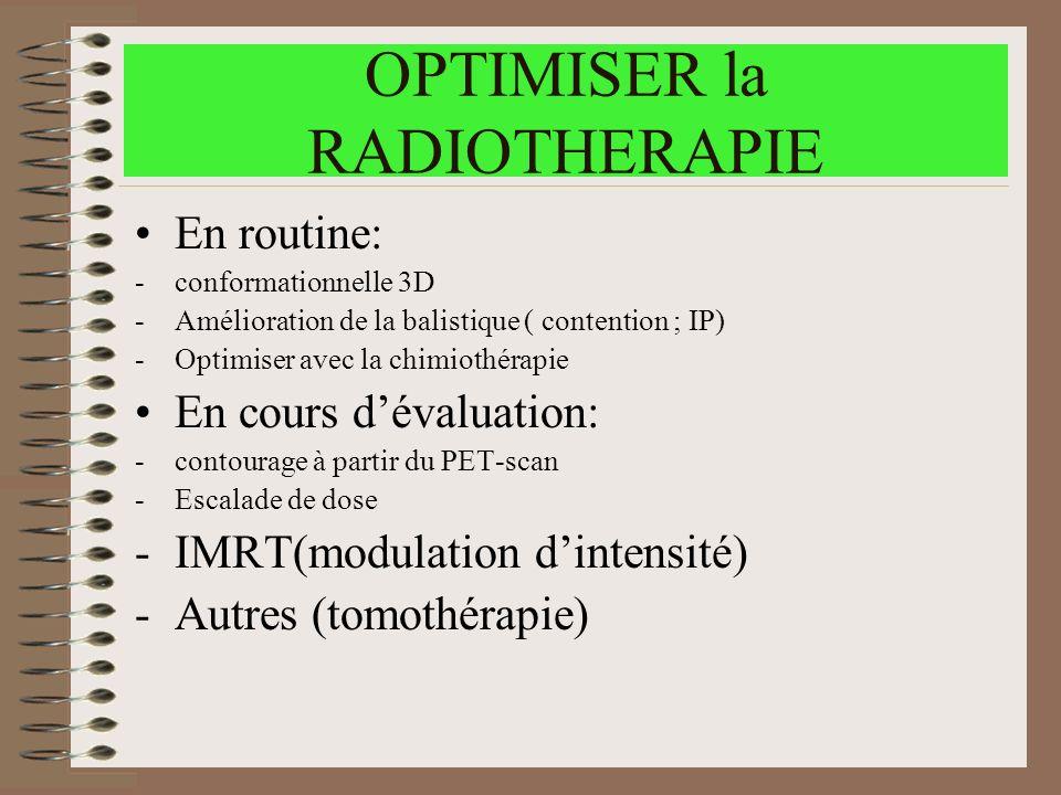 OPTIMISER la RADIOTHERAPIE En routine: -conformationnelle 3D -Amélioration de la balistique ( contention ; IP) -Optimiser avec la chimiothérapie En co