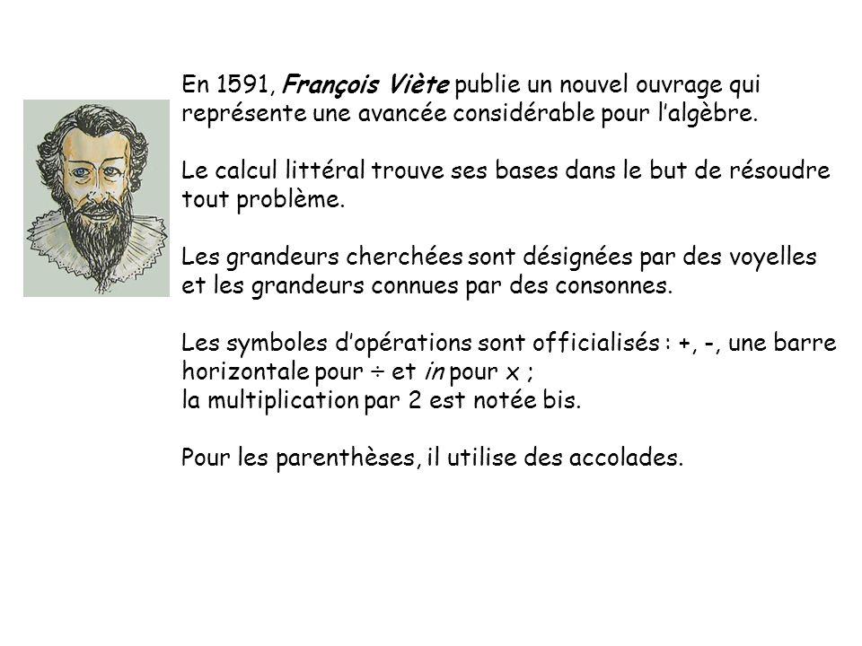 En 1591, François Viète publie un nouvel ouvrage qui représente une avancée considérable pour lalgèbre. Le calcul littéral trouve ses bases dans le bu