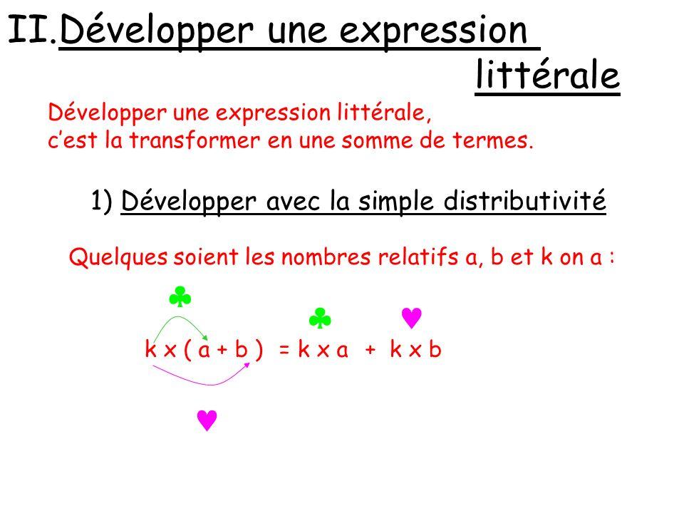 Exemples : 143 x 102 =143 x ( 100 + 2 ) = 143 x 100 + 143 x 2 = 14 300 + 286 = 14 586 A = 3(- 6 x + 4) = 3 x (- 6 x + 4) = 3 x (- 6 x) + 3 x 4 = -18 x + 12 B = 2x (x – y + 4) = 2x x (x – y + 4) = 2x x x + 2x x ( - y ) + 2x x 4 = 2 x²- 2 xy+ 8 x
