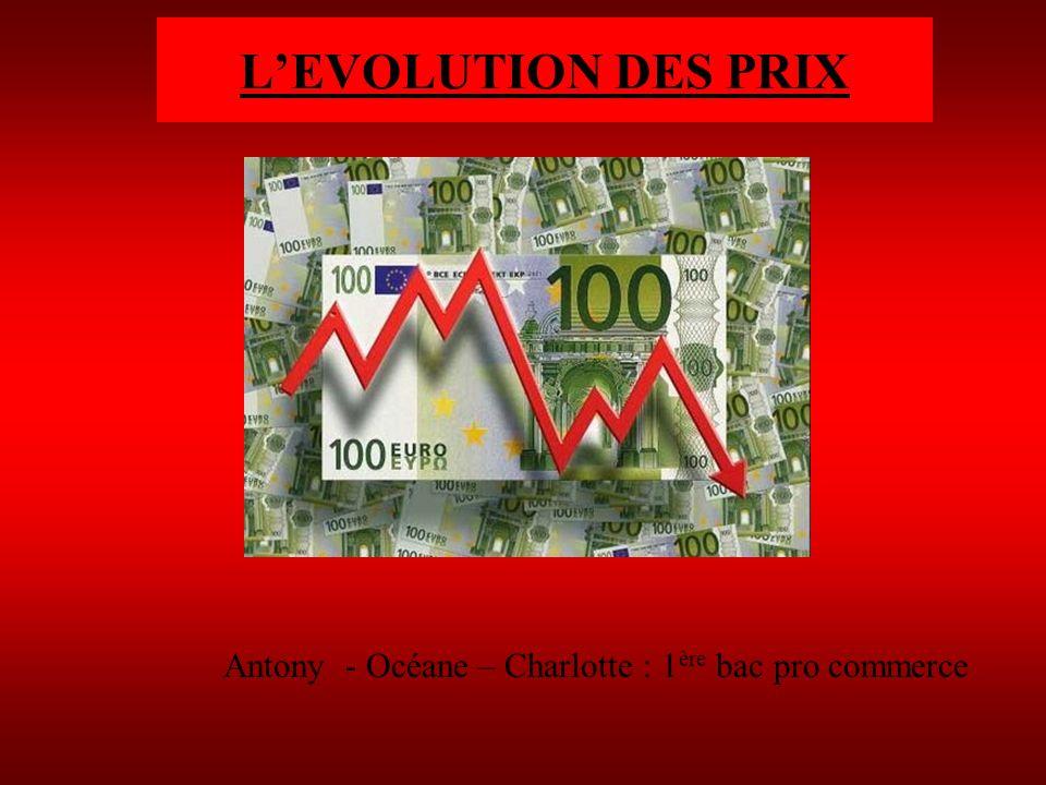 LEVOLUTION DES PRIX Antony - Océane – Charlotte : 1 ère bac pro commerce