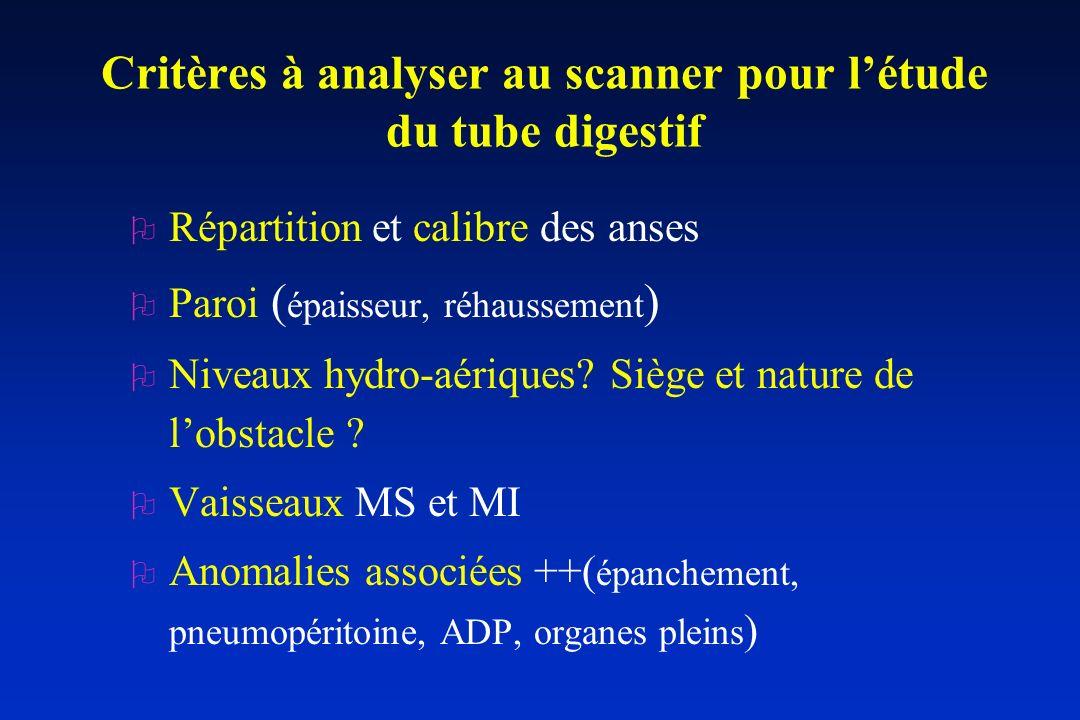 Critères à analyser au scanner pour létude du tube digestif O Répartition et calibre des anses O Paroi ( épaisseur, réhaussement ) O Niveaux hydro-aér