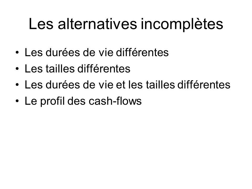 Les alternatives incomplètes Les durées de vie différentes Les tailles différentes Les durées de vie et les tailles différentes Le profil des cash-flows
