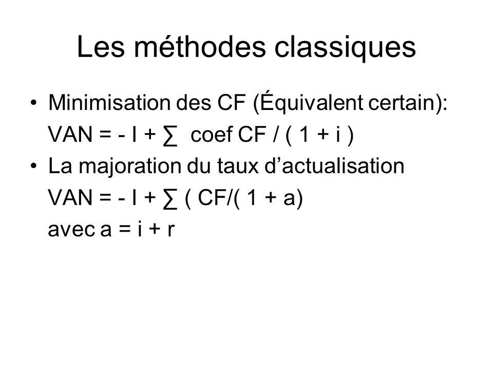 Les méthodes classiques Minimisation des CF (Équivalent certain): VAN = - I + coef CF / ( 1 + i ) La majoration du taux dactualisation VAN = - I + ( CF/( 1 + a) avec a = i + r