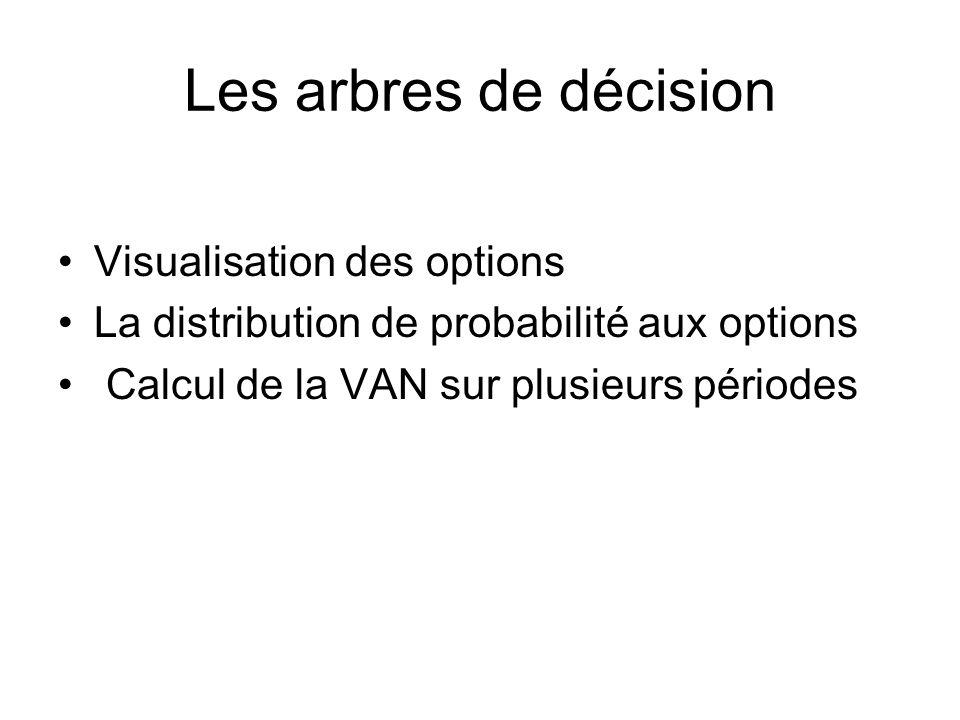 Les arbres de décision Visualisation des options La distribution de probabilité aux options Calcul de la VAN sur plusieurs périodes