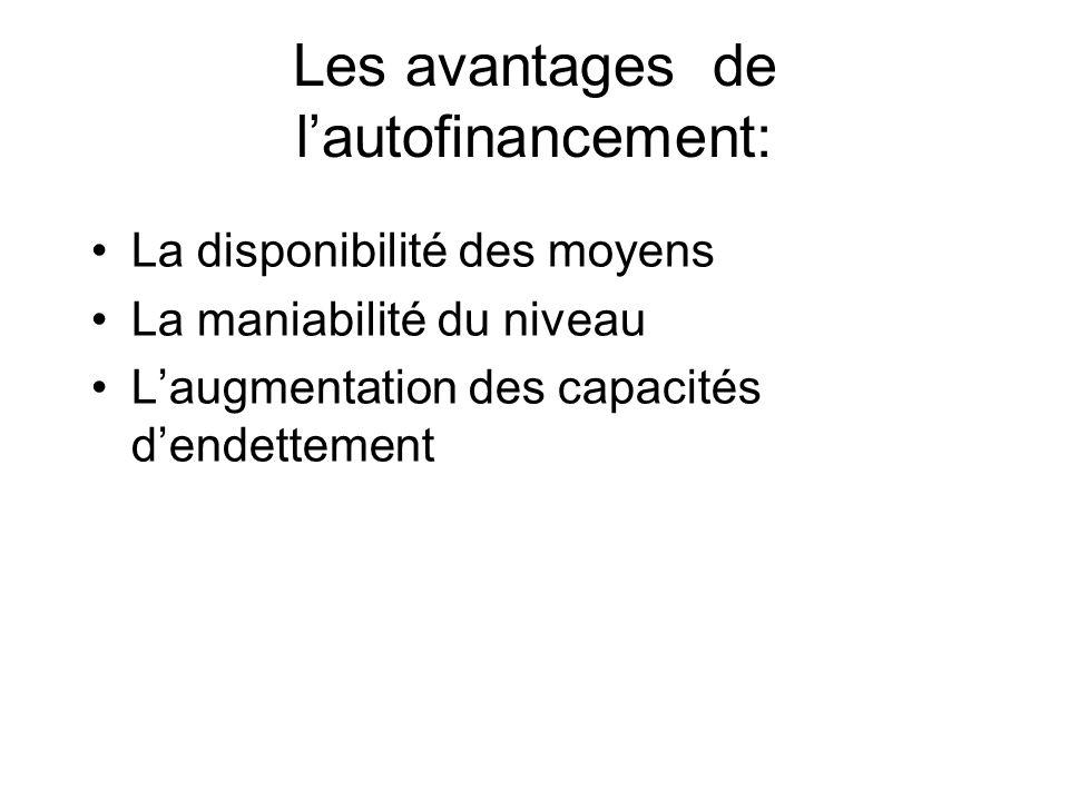 Les avantages de lautofinancement: La disponibilité des moyens La maniabilité du niveau Laugmentation des capacités dendettement