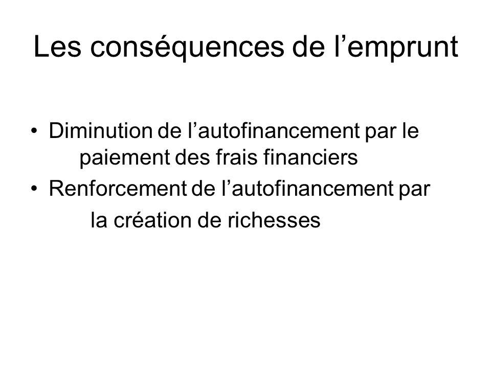 Les conséquences de lemprunt Diminution de lautofinancement par le paiement des frais financiers Renforcement de lautofinancement par la création de richesses