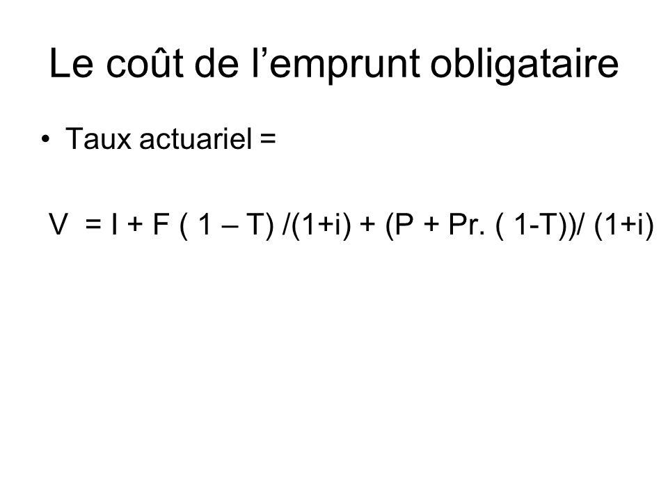 Le coût de lemprunt obligataire Taux actuariel = V = I + F ( 1 – T) /(1+i) + (P + Pr.