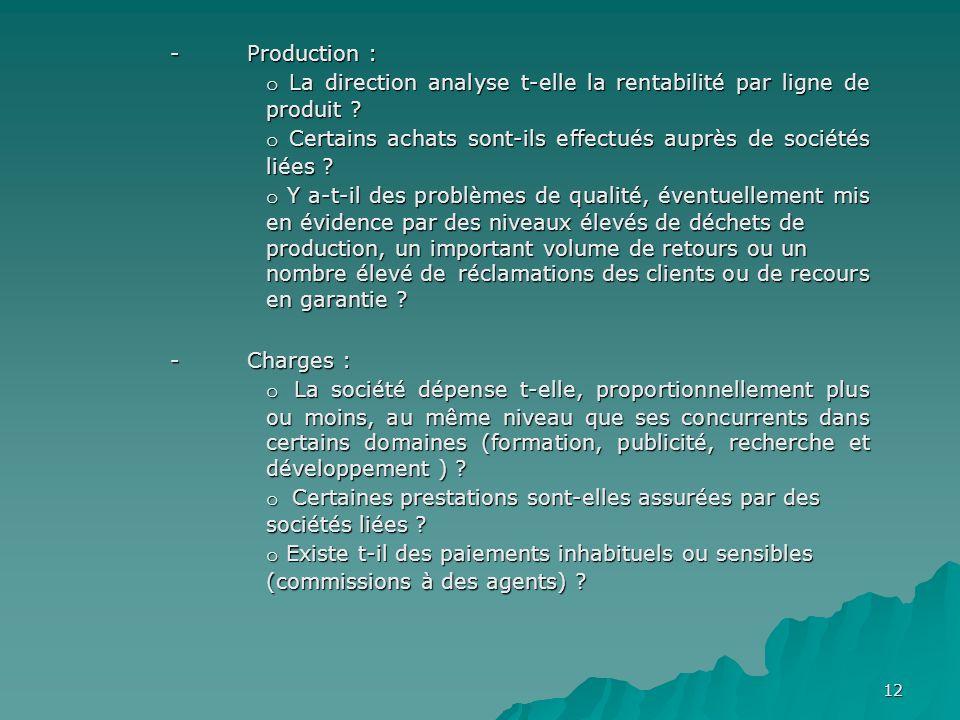 12 - Production : o La direction analyse t-elle la rentabilité par ligne de produit ? o Certains achats sont-ils effectués auprès de sociétés liées ?