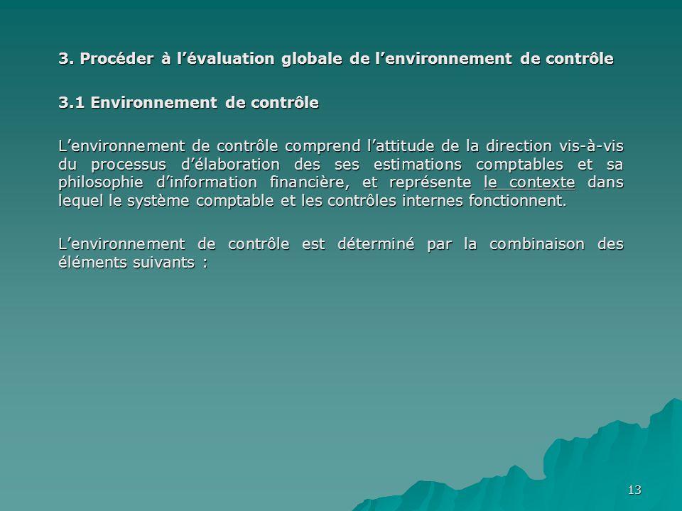 13 3. Procéder à lévaluation globale de lenvironnement de contrôle 3.1 Environnement de contrôle Lenvironnement de contrôle comprend lattitude de la d