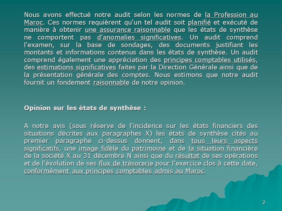 2 Nous avons effectué notre audit selon les normes de la Profession au Maroc. Ces normes requièrent qu'un tel audit soit planifié et exécuté de manièr