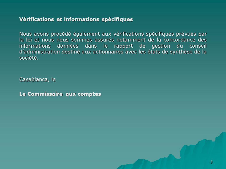 3 Vérifications et informations spécifiques Nous avons procédé également aux vérifications spécifiques prévues par la loi et nous nous sommes assurés