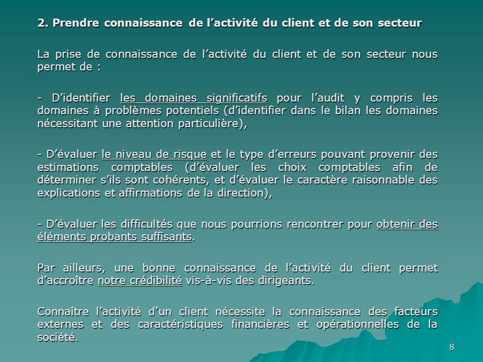 9 2.1 Facteurs externes Lors de la revue des facteurs externes, nos objectifs sont dobtenir les informations susceptibles de nous aider à comprendre lactivité du client.