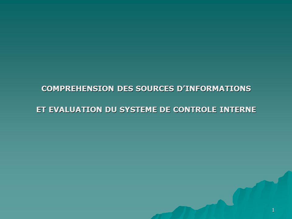 1 COMPREHENSION DES SOURCES DINFORMATIONS ET EVALUATION DU SYSTEME DE CONTROLE INTERNE