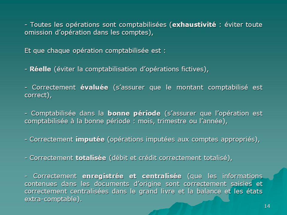 14 - Toutes les opérations sont comptabilisées (exhaustivité : éviter toute omission dopération dans les comptes), Et que chaque opération comptabilis