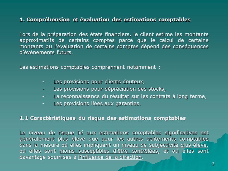 3 1. Compréhension et évaluation des estimations comptables Lors de la préparation des états financiers, le client estime les montants approximatifs d