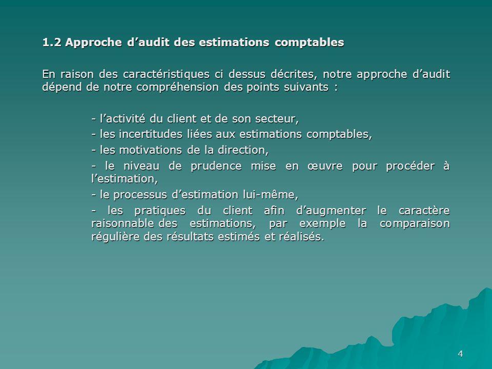 4 1.2 Approche daudit des estimations comptables En raison des caractéristiques ci dessus décrites, notre approche daudit dépend de notre compréhensio